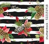 vintage poinsettia flowers... | Shutterstock .eps vector #522151918