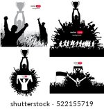 posters with cheering people | Shutterstock .eps vector #522155719