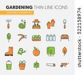 gardening thin line vector... | Shutterstock .eps vector #522158974