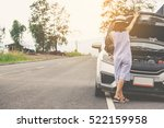 woman with hatchback car broken ... | Shutterstock . vector #522159958