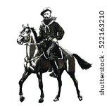 garibaldi giuseppe on horse.... | Shutterstock .eps vector #522163210