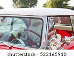 santa claus drives his hot rod... | Shutterstock . vector #522165910