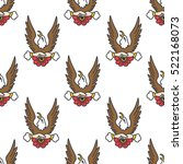 seamless doodle pattern. eagle. ... | Shutterstock .eps vector #522168073