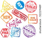 vector sale stamp set | Shutterstock .eps vector #52219489