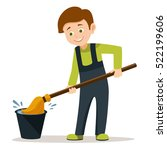 cartoon boy dips the mop in a... | Shutterstock .eps vector #522199606