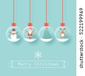 santa claus  snowman  reindeer... | Shutterstock .eps vector #522199969