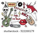 cute embroidery patches and... | Shutterstock . vector #522200179