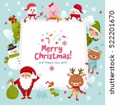 merry christmas greeting card.... | Shutterstock .eps vector #522201670