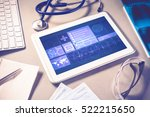 white tablet pc and doctor... | Shutterstock . vector #522215650