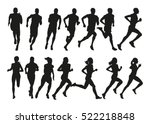 Run. Set Of Silhouettes Of...