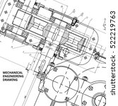 mechanical engineering drawing. ... | Shutterstock .eps vector #522219763