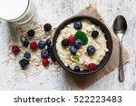 oatmeal porridge with fresh... | Shutterstock . vector #522223483
