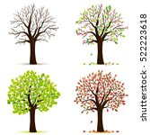 four seasons trees vector | Shutterstock .eps vector #522223618