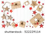 wrapped gifts with christmas... | Shutterstock . vector #522229114