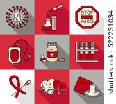 medical hiv aids color icons.... | Shutterstock .eps vector #522231034