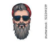 vector color hipster beard... | Shutterstock .eps vector #522244159