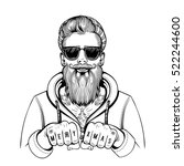 vector black and white hipster...   Shutterstock .eps vector #522244600