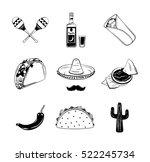 nachos  a burrito  sombrero... | Shutterstock .eps vector #522245734