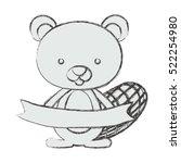 isolated beaver cartoon design | Shutterstock .eps vector #522254980