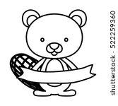 isolated beaver cartoon design | Shutterstock .eps vector #522259360