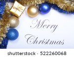 text merry christmas on paper... | Shutterstock . vector #522260068