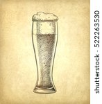 beer glass on old paper... | Shutterstock .eps vector #522263530