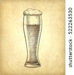beer glass on old paper... | Shutterstock .eps vector #522263530