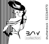 black and white fashion woman... | Shutterstock .eps vector #522264970
