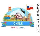 chile flat composition with man ... | Shutterstock .eps vector #522265738