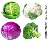 Collection Cabbages Isolated O...