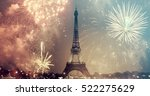eiffel tower with fireworks ... | Shutterstock . vector #522275629
