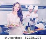 beautiful smiling female waiter ... | Shutterstock . vector #522281278
