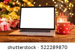 laptop with empty screen on... | Shutterstock . vector #522289870