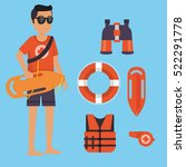 male life guard standing... | Shutterstock .eps vector #522291778