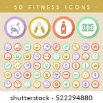 set of 50 fitness icons on... | Shutterstock .eps vector #522294880