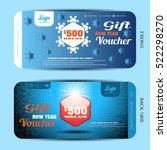 vector new year gift voucher... | Shutterstock .eps vector #522298270