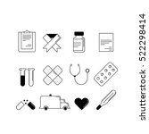 set of 12 cartoon style medical ... | Shutterstock .eps vector #522298414