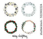 set of christmas wreath... | Shutterstock .eps vector #522302224