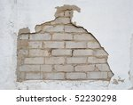 White Aged Brick Background