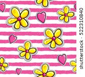 hearts and cartoon flowers... | Shutterstock .eps vector #522310840