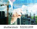 double exposure of business... | Shutterstock . vector #522311359