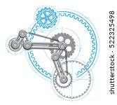 drawing of mechanism with gears.... | Shutterstock .eps vector #522325498
