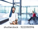 young funny man with a sword... | Shutterstock . vector #522350596