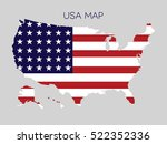 Flag In Map Of Usa On Gray...