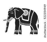 indian elephant icon in black... | Shutterstock . vector #522354949