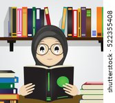 Cartoon Of Muslim Girl Reading...