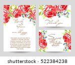 invitation with floral... | Shutterstock .eps vector #522384238