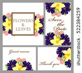 invitation with floral... | Shutterstock . vector #522384259