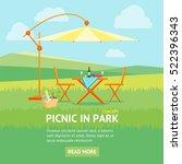 summer picnic in park banner... | Shutterstock .eps vector #522396343