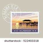alabama  postage stamp design.... | Shutterstock .eps vector #522403318